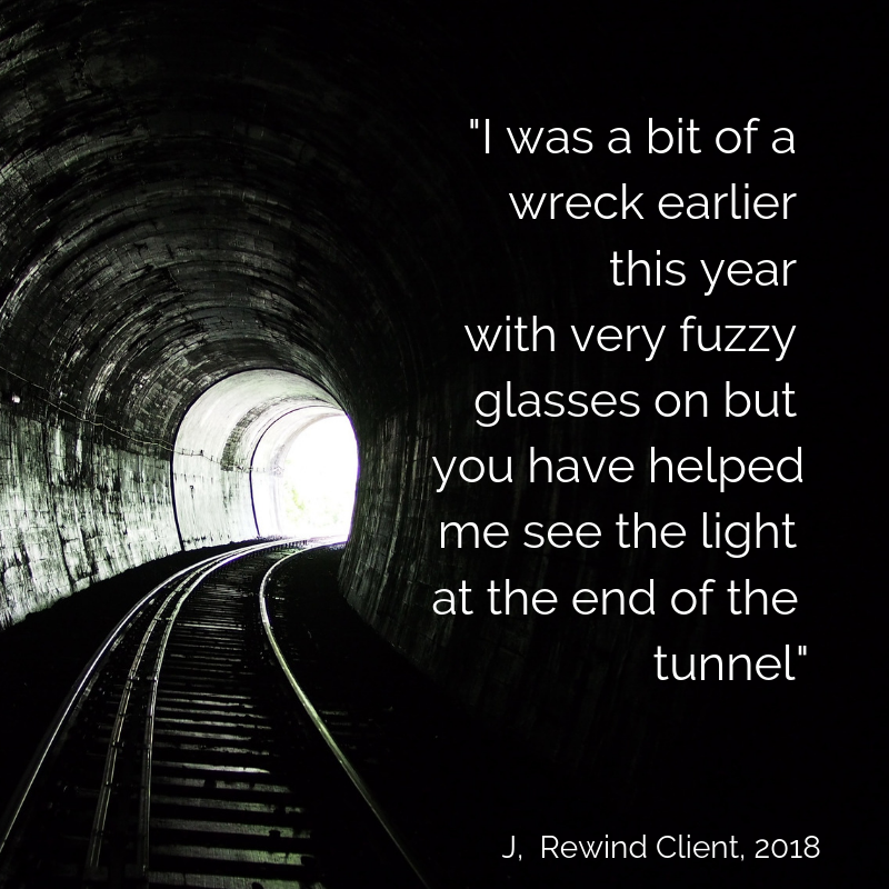 Curved tunnel, light around the bend accompanied by a quote from a client